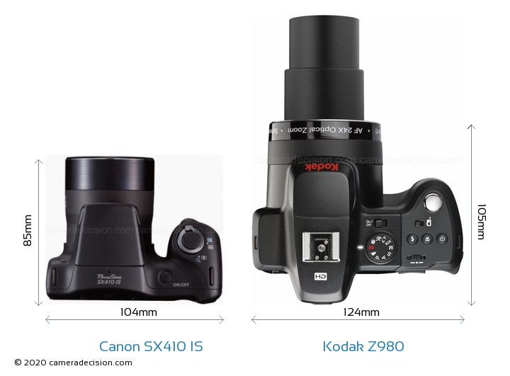 Canon SX410 IS vs Kodak Z980 Camera Size Comparison - Top View