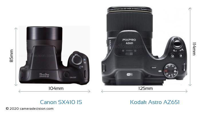 Canon SX410 IS vs Kodak Astro Zoom AZ651 Camera Size Comparison - Top View