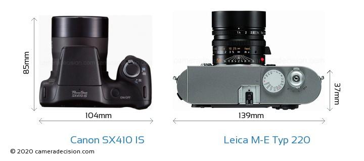 Canon SX410 IS vs Leica M-E Typ 220 Camera Size Comparison - Top View