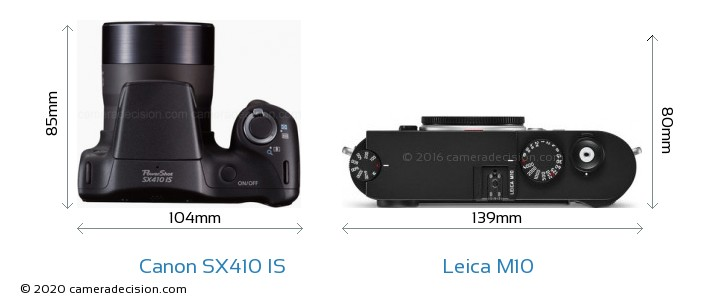 Canon SX410 IS vs Leica M10 Camera Size Comparison - Top View