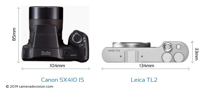 Canon SX410 IS vs Leica TL2 Camera Size Comparison - Top View