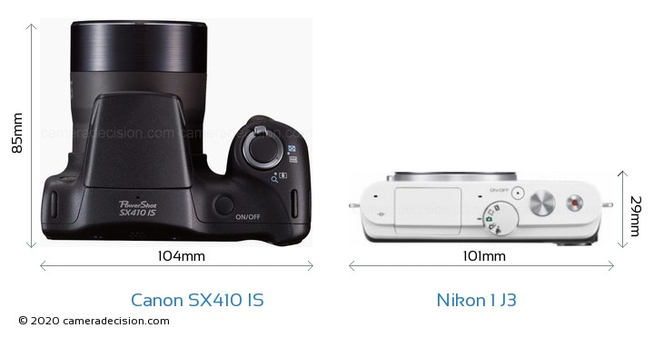 Canon SX410 IS vs Nikon 1 J3 Camera Size Comparison - Top View