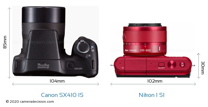 Canon SX410 IS vs Nikon 1 S1 Camera Size Comparison - Top View