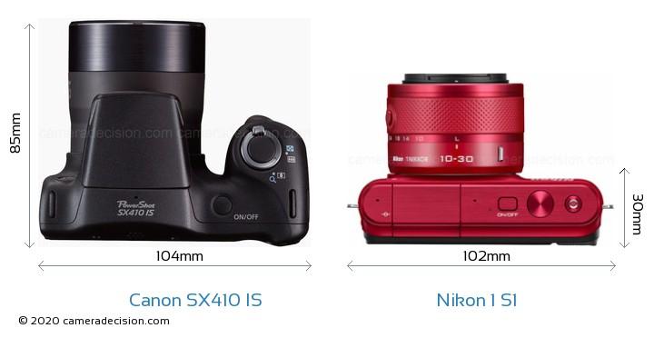 Canon SX410 IS vs Nikon 1 S1 Camera Size Comparison - Top View