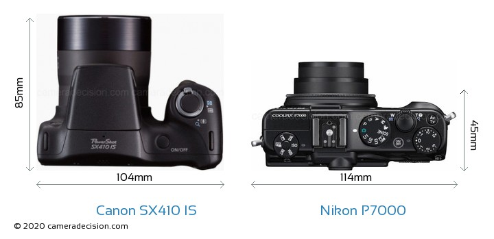 Canon SX410 IS vs Nikon P7000 Camera Size Comparison - Top View