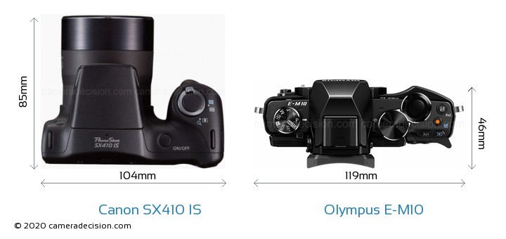 Canon SX410 IS vs Olympus E-M10 Camera Size Comparison - Top View