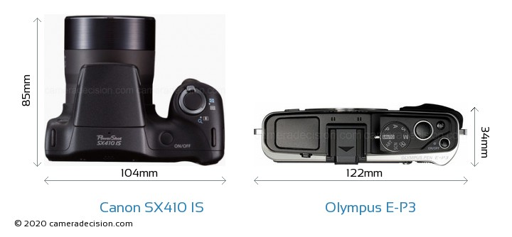 Canon SX410 IS vs Olympus E-P3 Camera Size Comparison - Top View