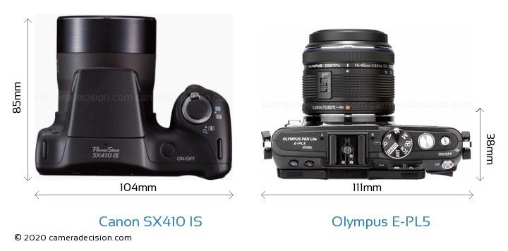 Canon SX410 IS vs Olympus E-PL5 Camera Size Comparison - Top View
