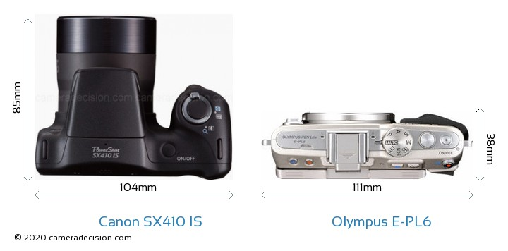 Canon SX410 IS vs Olympus E-PL6 Camera Size Comparison - Top View