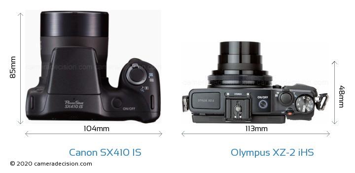 Canon SX410 IS vs Olympus XZ-2 iHS Camera Size Comparison - Top View