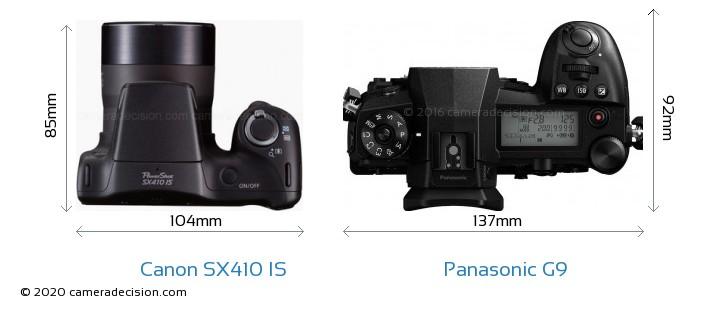 Canon SX410 IS vs Panasonic G9 Camera Size Comparison - Top View