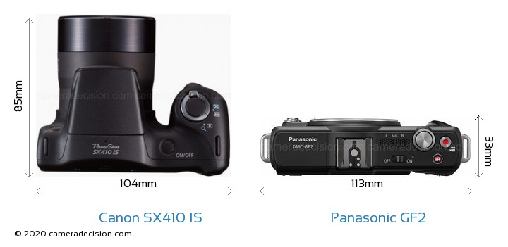 Canon SX410 IS vs Panasonic GF2 Camera Size Comparison - Top View