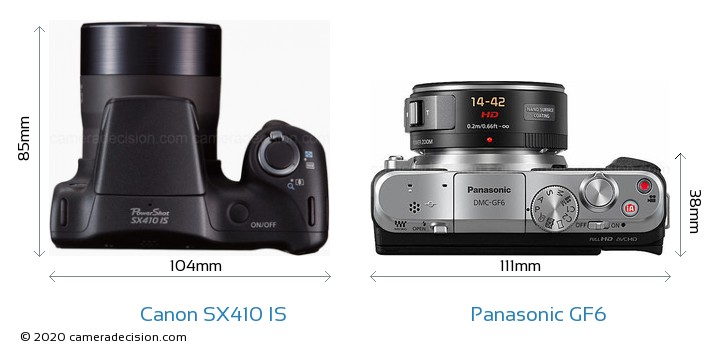 Canon SX410 IS vs Panasonic GF6 Camera Size Comparison - Top View