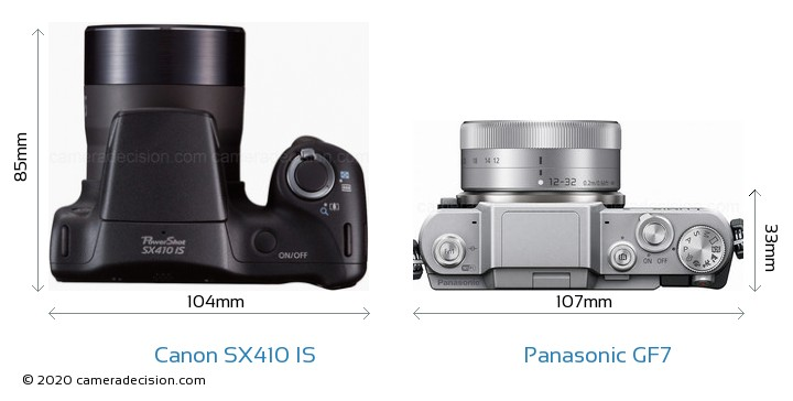 Canon SX410 IS vs Panasonic GF7 Camera Size Comparison - Top View