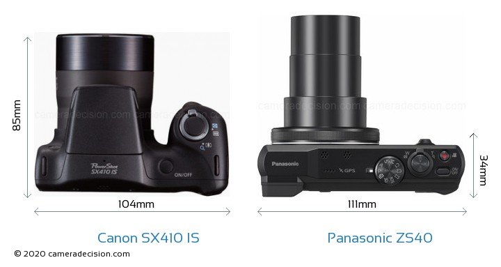 Canon SX410 IS vs Panasonic ZS40 Camera Size Comparison - Top View