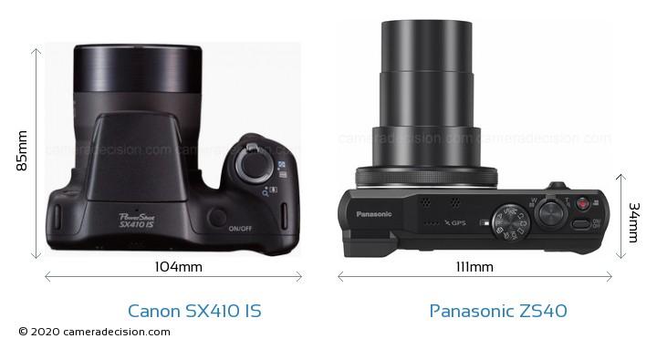 Canon SX410 IS vs Panasonic ZS40 Camera Size Comparison - Top View
