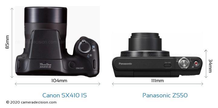 Canon SX410 IS vs Panasonic ZS50 Camera Size Comparison - Top View