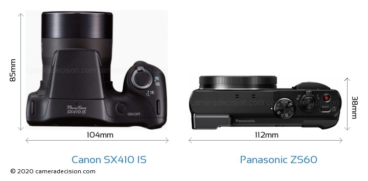 Canon SX410 IS vs Panasonic ZS60 Camera Size Comparison - Top View