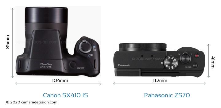 Canon SX410 IS vs Panasonic ZS70 Camera Size Comparison - Top View