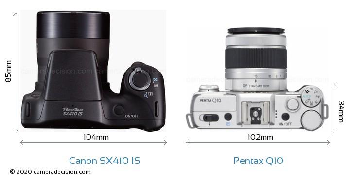 Canon SX410 IS vs Pentax Q10 Camera Size Comparison - Top View
