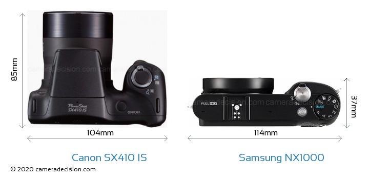 Canon SX410 IS vs Samsung NX1000 Camera Size Comparison - Top View