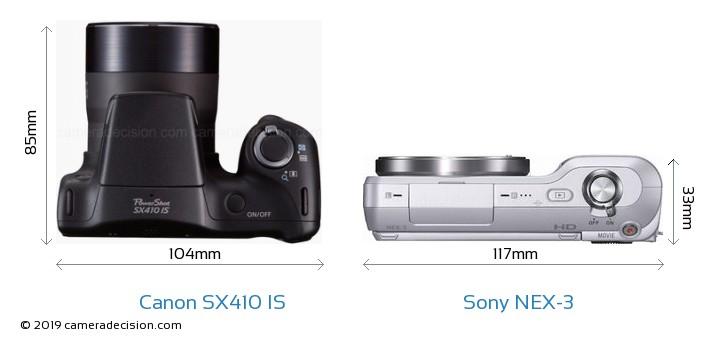 Canon SX410 IS vs Sony NEX-3 Camera Size Comparison - Top View