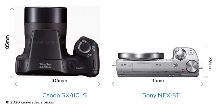 Canon SX410 IS vs Sony NEX-5T Camera Size Comparison - Top View