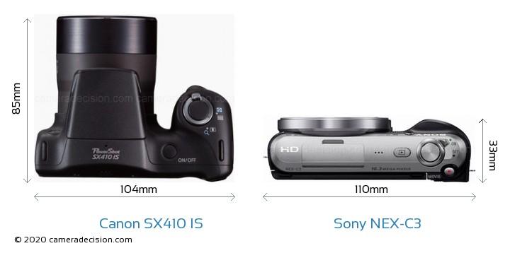 Canon SX410 IS vs Sony NEX-C3 Camera Size Comparison - Top View