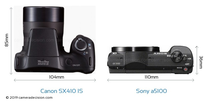 Canon SX410 IS vs Sony a5100 Camera Size Comparison - Top View