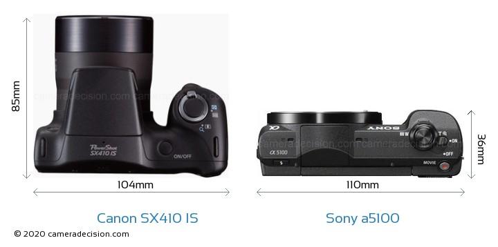 Canon SX410 IS vs Sony a5100 Camera Size Comparison - Top View