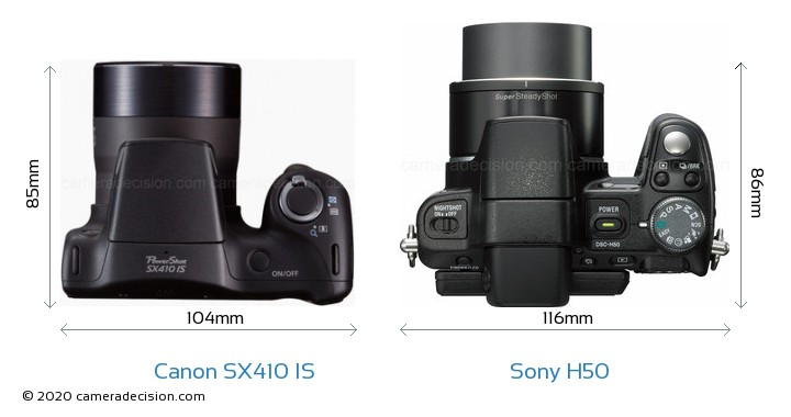 Canon SX410 IS vs Sony H50 Camera Size Comparison - Top View