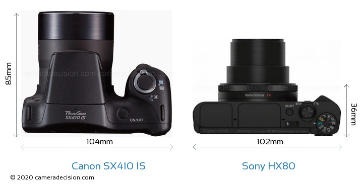 Canon SX410 IS vs Sony HX80 Camera Size Comparison - Top View