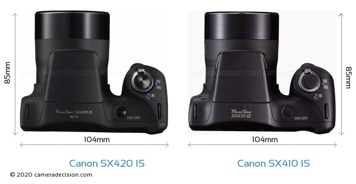 Canon SX420 IS vs Canon SX410 IS Camera Size Comparison - Top View
