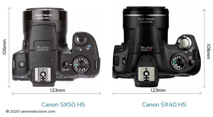 Canon SX50 HS vs Canon SX40 HS Camera Size Comparison - Top View