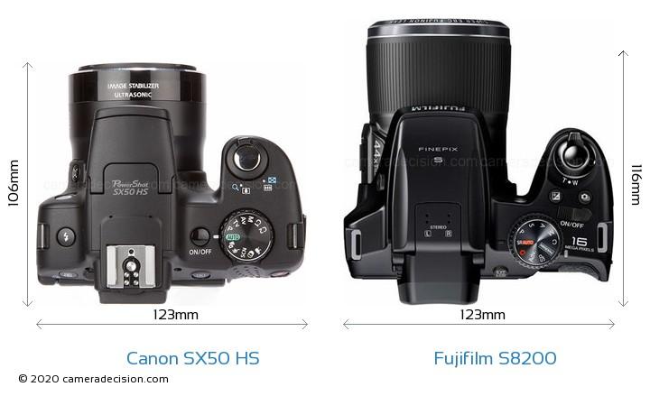 Canon SX50 HS vs Fujifilm S8200 Camera Size Comparison - Top View