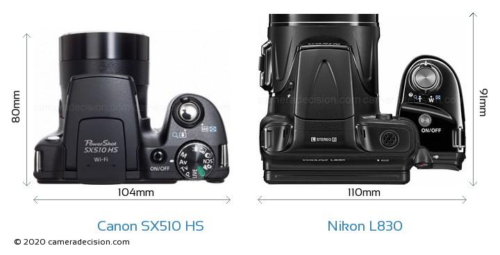 Canon SX510 HS vs Nikon L830 Camera Size Comparison - Top View