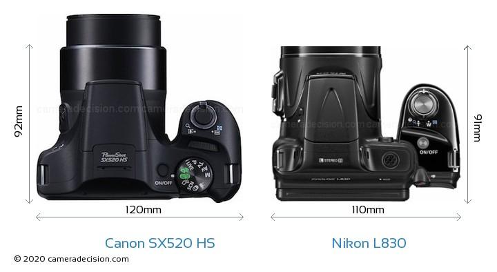 Canon SX520 HS vs Nikon L830 Camera Size Comparison - Top View
