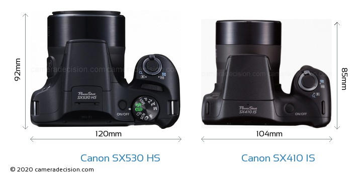 Canon SX530 HS vs Canon SX410 IS Camera Size Comparison - Top View