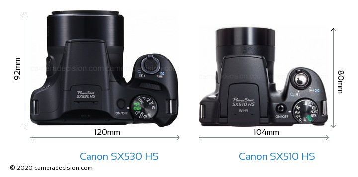 Canon SX530 HS vs Canon SX510 HS Camera Size Comparison - Top View