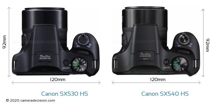Canon SX530 HS vs Canon SX540 HS Camera Size Comparison - Top View