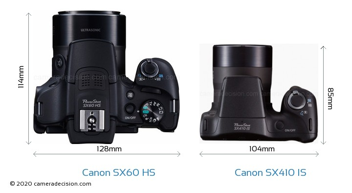 Canon SX60 HS vs Canon SX410 IS Camera Size Comparison - Top View