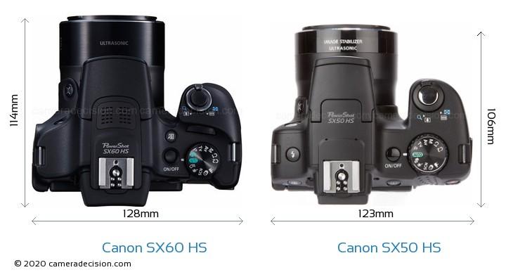 Canon SX60 HS vs Canon SX50 HS Camera Size Comparison - Top View