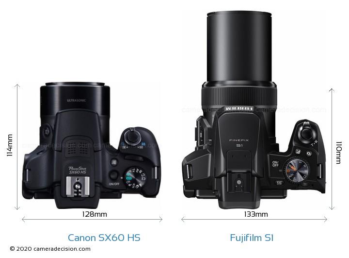 Canon SX60 HS vs Fujifilm S1 Camera Size Comparison - Top View