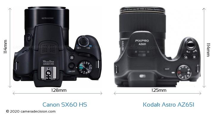 Canon SX60 HS vs Kodak Astro Zoom AZ651 Camera Size Comparison - Top View