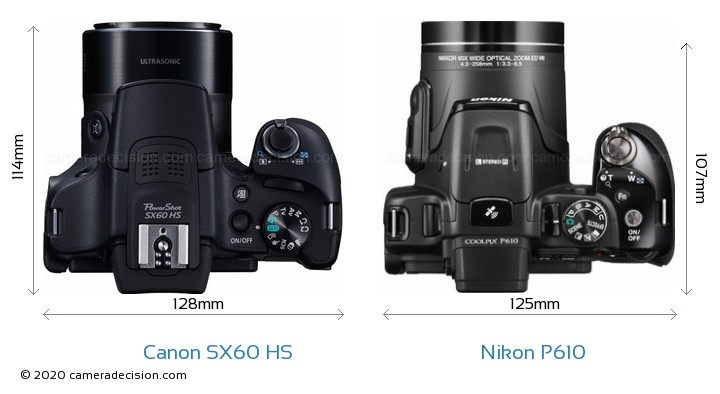 Canon SX60 HS vs Nikon P610 Camera Size Comparison - Top View