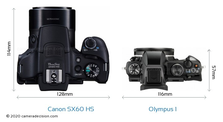 Canon SX60 HS vs Olympus 1 Camera Size Comparison - Top View