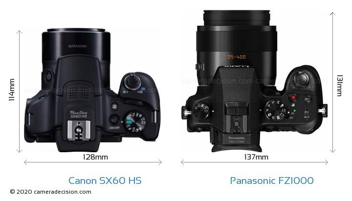 Canon SX60 HS vs Panasonic FZ1000 Camera Size Comparison - Top View