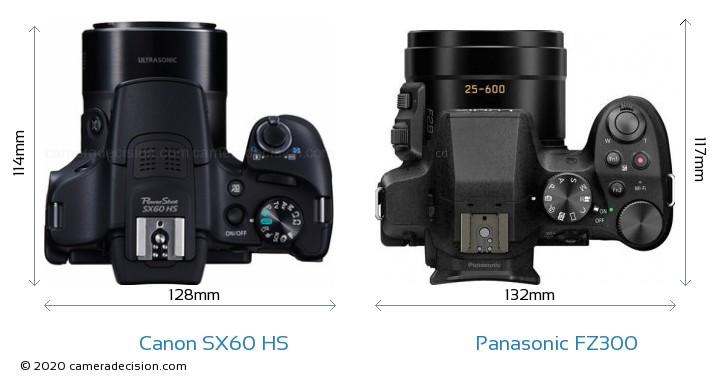Canon SX60 HS vs Panasonic FZ300 Camera Size Comparison - Top View