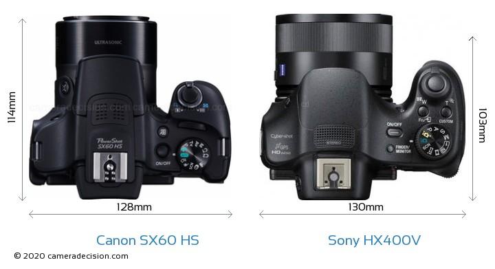 Canon SX60 HS vs Sony HX400V Camera Size Comparison - Top View