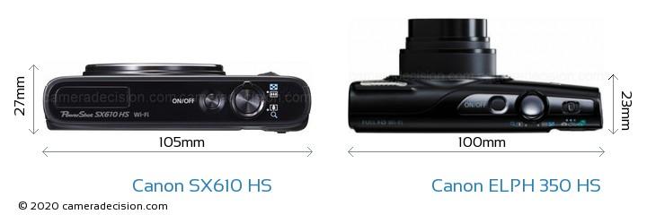 Canon SX610 HS vs Canon ELPH 350 HS Camera Size Comparison - Top View
